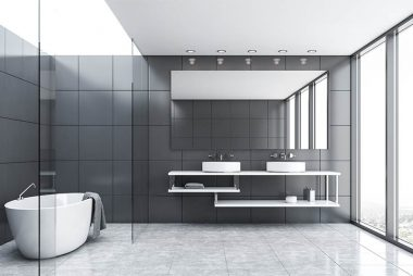 gray-tile-and-glass-bathroom-with-tub-and-sink